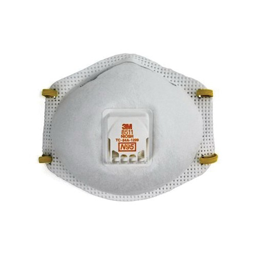 3M™ 8511 Disposable Particulate Respirator With Cool Flow™ Exhalation Valve and Adjustable M-Nose Clip, Standard
