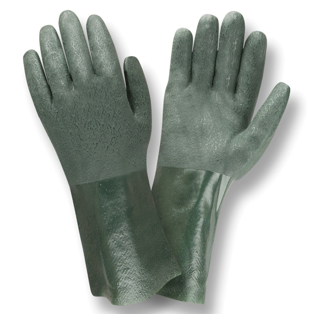 Cordova 5212J Double Dipped Coated Gloves, L, Green, PVC