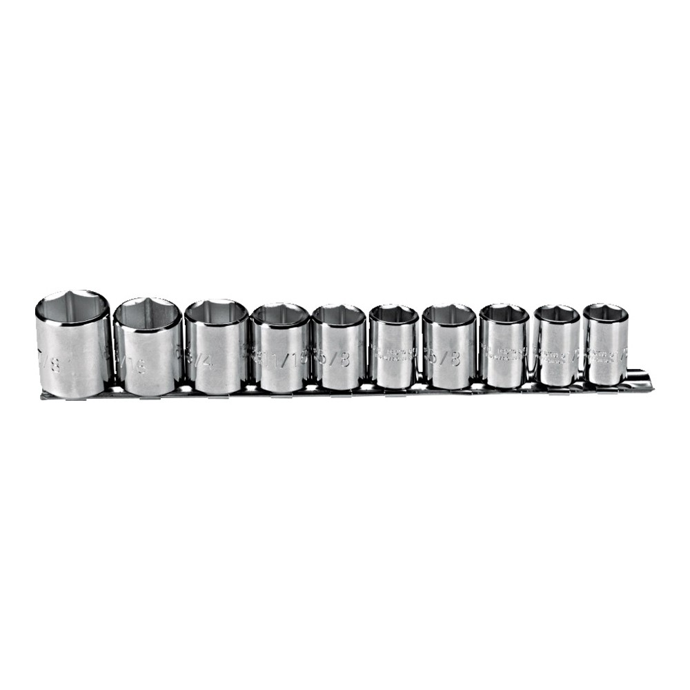 Proto® J52122 SAE/Fractional Socket Set, 10 Pieces, 3/8 in Drive, 6-Point, Full Polished