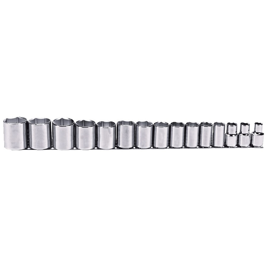 Proto® J54110 SAE Standard Length Socket Set, 15 Pieces, 1/2 in Drive, 6 Point, Full Polished