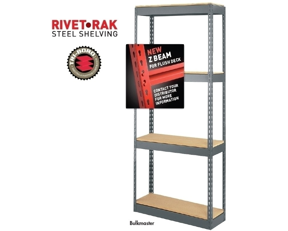 RIVET-RAK™ STEEL SHELVING - BULKMASTER, Bulkmaster without Particle Board,  Cap  Per Shelf (lbs ): 1030, Size W x H: 72 x 84