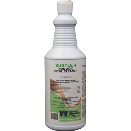 SUBTLE 4 NABC Ready To Use, Germicidal Disinfectant, Deodorant Cleaner for use on All Hard, Non-Porous Surfaces  (Bowl & Bathroom Cleaner) 12/32oz Per Case