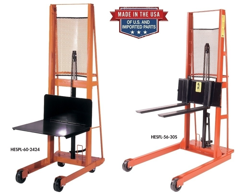"""HYDRAULIC FOOT PUMP STACKERS, 18"""" Load Center - 32 x 30"""" Platform, Cap. (lbs.): 1000, Lift Height: 80"""", Overall Height: 92"""", Base Leg Span Inside/Outside: 25.5""""/32"""""""