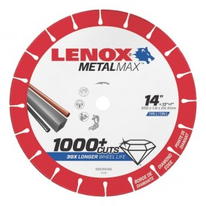"Lenox METALMAX Cut-Off Wheel - 14"" Diameter, .130"" Thickness, 1"" Arbor, 1972929"