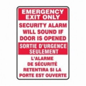 Accuform® FBMEXT566VA Bilingual Emergency Exit Sign, 14 in H x 10 in W, 0.04 in Aluminum