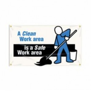 Accuform® MBR400 Safety Banner, A CLEAN WORK AREA IS A SAFE WORK AREA, English, 28 in H x 48 in W