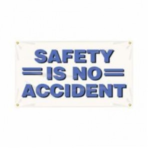 Accuform® MBR410 Safety Banner, SAFETY IS NO ACCIDENT, English, 28 in H x 48 in W
