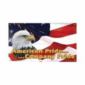 Accuform® MBR418 Safety Banner, AMERICAN PRIDE... ...COMPANY PRIDE, English, 28 in H x 48 in W