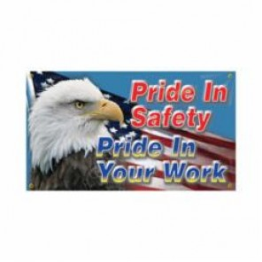 Accuform® MBR420 Safety Banner, PRIDE IN SAFETY PRIDE IN YOUR WORK, English, 28 in H x 48 in W