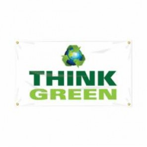 Accuform® MBR461 Safety Banner, THINK GREEN, English, 28 in H x 48 in W