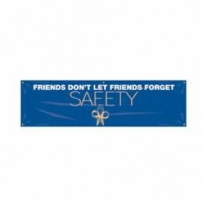 Accuform® MBR948 Safety Banner, FRIENDS DON'T LET FRIENDS FORGET SAFETY, English, 28 in H x 96 in W