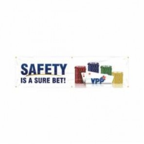Accuform® MBR968 VPP Safety Banner, SAFETY IS A SURE BET!, English, 28 in H x 96 in W