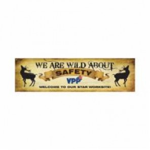 Accuform® MBR970 VPP Safety Banner, WE ARE WILD ABOUT SAFETY WELCOME TO OUR, English, 28 in H x 96 in W