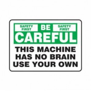 Accuform® MEQM910VA Safety Sign, 7 in H x 10 in W, 0.04 in Aluminum