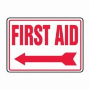 Accuform® MFSD532XV First Aid Sign, 10 in H x 14 in W, 6 mil Adhesive Dura-Vinyl