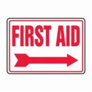 Accuform® MFSD534XV First Aid Sign, 10 in H x 14 in W, 6 mil Adhesive Dura-Vinyl
