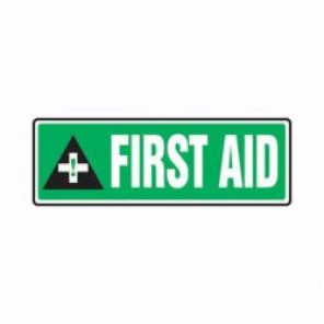 Accuform® MFSD559VS First Aid Sign, 4 in H x 12 in W, 4 mil Adhesive Vinyl