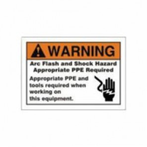 Accuform® LELC309 Warning Sign, 3-1/2 in H x 5 in W, Black/Orange on White, Adhesive Vinyl