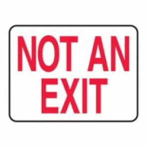 Accuform® MEXT910VS Moisture Resistant Fire No Exit Sign, 7 in H x 10 in W, Red on White, Surface Mount
