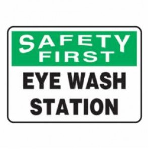 Accuform® MFSD982VA Safety First Sign, 10 in H x 14 in W, Green/Black on White, Surface Mount, Aluminum