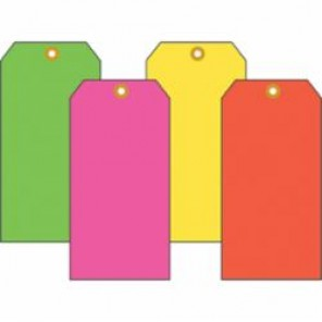 Accuform® TBB604FYP Light Weight Blank Tag, 2-3/8 in H x 4-3/4 in W, 3/16 in, Fluorescent Yellow, Cardstock