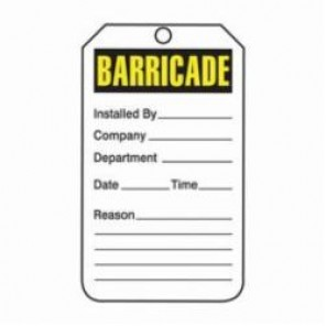 Accuform® TAB101CTP Barricade Tag, 3/8 in Hole, PF-Cardstock