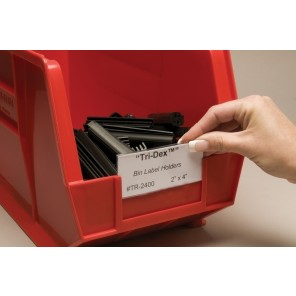 "AIGNER LABEL HOLDERS FOR PLASTIC BINS, Label Holder, Fits Shelf Bins, Size: 1 x 3"", Qty per Pk.: 25"