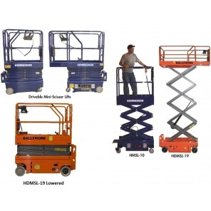 """DRIVABLE AND PUSH-ABLE MINI-SCISSOR LIFTS, Push-Able, Working Height: 16', Platform Max Height: 9' 10"""", Platform Lowered Height: 21"""""""