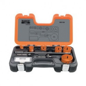 Bahco® 862109 Professional Hole Saw Set, 9 Pieces, For Use With 9/16 to 13/16 in and 1-1/4 to 6 in Hole Saws