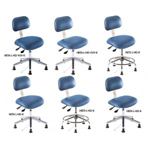 "ERGONOMIC HIGH-TECH SERIES, Type: Static Control, Series: BTA-K, Upholstery: Microcon Blue Vinyl, Footring: No, Seat Height Adj.: 19-26"", Feet: Glides"