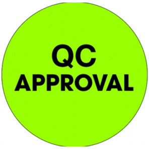 "1"" Circle Fluorescent Green Labels, for Inventory Control - ""QC Approval"", 500 Labels/Roll"