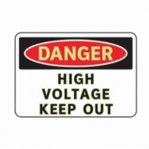 Brady® 102486 3-In-1 Danger Sign, 10 in W x 7 in H, Red/Black on White, Glow-In-The-Dark Aluminum, DANGER HIGH VOLTAGE KEEP OUT