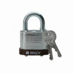 Brady® 101957 Key Retaining Safety Padlock, Keyed Different Key, 1/4 in Shackle, LOTO-12 Reinforced Laminated Steel Body, 5-Pin Cylindrical Locking