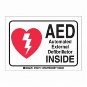 Brady® 102714 First Aid Sign, 5 in H x 3-1/2 in W, Black/Red on White, B-302 Polyester
