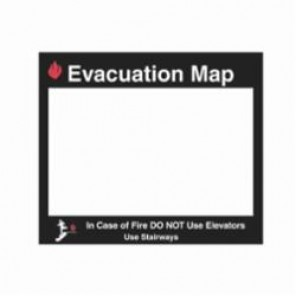 Brady® 102851 Evacuation Map Holder, For Use With 8-1/2 in H x 11 in W Insert, Glow-In-The-Dark Plastic, Black/Red on Clear