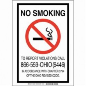 Brady® 103488 Rectangular No Smoking Sign, 5 in H x 3-1/2 in W, Black/Red on White, Self-Adhesive Mount, B-302 Polyester