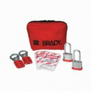 Brady® 105970 Filled Portable Lockout Kit With Keyed-Alike Steel Padlocks, 7 Pieces, Red, Nylon, For Use With General Lockout