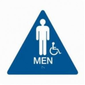 Brady® 106182 Triangle California/ADA Restroom Sign, 10 in H x 11 in W, White on Blue, Surface Mount, B-401 Plastic