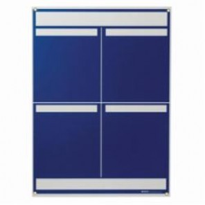 Brady® 114611 4-Panel Lean Communication Board, 34-1/4 in H x 25 in W x 1/4 in D, Preboard with Polystyrene Foam Core, Blue