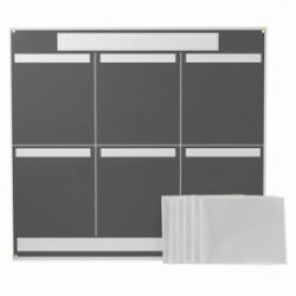 Brady® 114614 Six Panel Lean Communication Board, 34-1/4 in H x 37-1/4 in W x 1/4 in D, Preboard with Polystyrene Foam Core, Gray