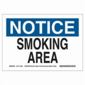 Brady® 116192 Eco-Friendly Notice Sign, 7 in H x 10 in W, Black/Blue on White, Surface Mount, B-563 Plastic