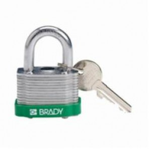 Brady® 143128 Key Retaining Safety Padlock, Keyed Different Key, 17/64 in Shackle, LOTO-11 Reinforced Laminated Steel Body, 5-Pin Cylindrical Locking