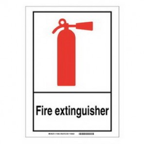 Brady® 119963 Fire Safety Sign, 14 in H x 10 in W, Black/Red on White, Self-Adhesive Mount, B-946 Vinyl