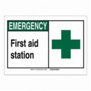 Brady® 120052 Fire Safety Sign, 5 in H x 7 in W, Black/Green on White, Self-Adhesive Mount, B-946 Vinyl