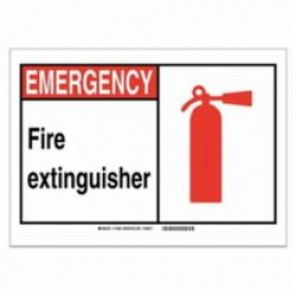 Brady® 120223 Fire Safety Sign, 5 in H x 7 in W, Black/Red on White, Self-Adhesive Mount, B-946 Vinyl