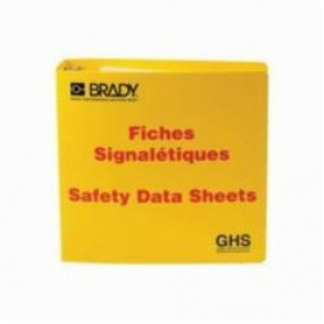 Brady® 121187 Right-To-Know Binder, Fiches Signaletiques Safety Data Sheets, English/French, Red on Yellow, 3 in Ring, 11-5/8 in H