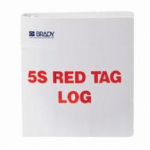 Brady® 122052 Rectangle 5S Red Tag Log Binder, 10 in H x 11 in W, Polycarbonate, Red on White