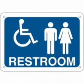 Brady® 123881 Rectangle Restroom Sign, 7 in H x 10 in W, White on Blue, Surface Mount, B-302 Polyester
