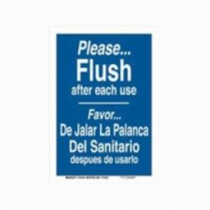 Brady® 124159 Rectangle Restroom Sign, 10 in H x 7 in W, White on Blue, Self-Adhesive/Surface Mount, B-302 Polyester
