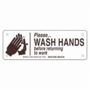 Brady® 124636 Rectangle Restroom Sign, 3-1/2 in H x 10 in W, Brown on White, Surface Mount, B-302 Polyester